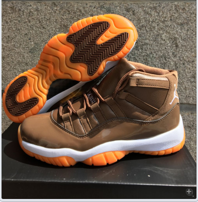 Men Air Jordan 11 Coffe White Orange Shoes