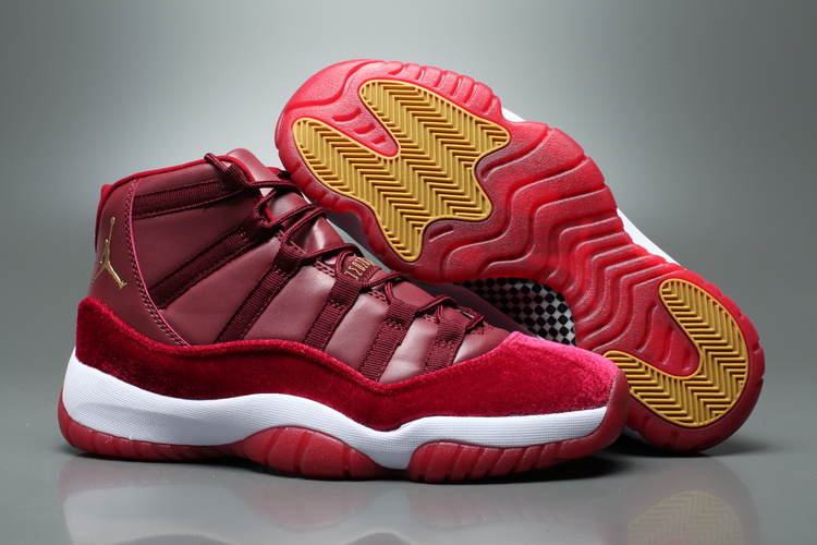 Men Air Jordan 11 High Velvet Heiress Wine Red White Yellow Shoes ... b6649bb6e