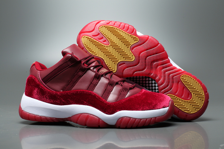 0bfccfcbb41 ... men air jordan 11 low velvet heiress wine red white yellow shoes
