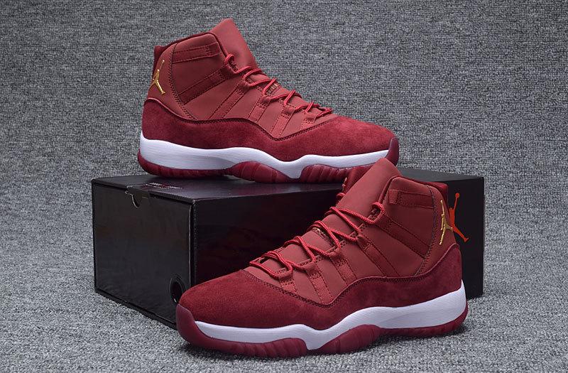 8c969b3a9e1777 Men Air Jordan 11 Retro Velvet Wine Red Gold White Shoes