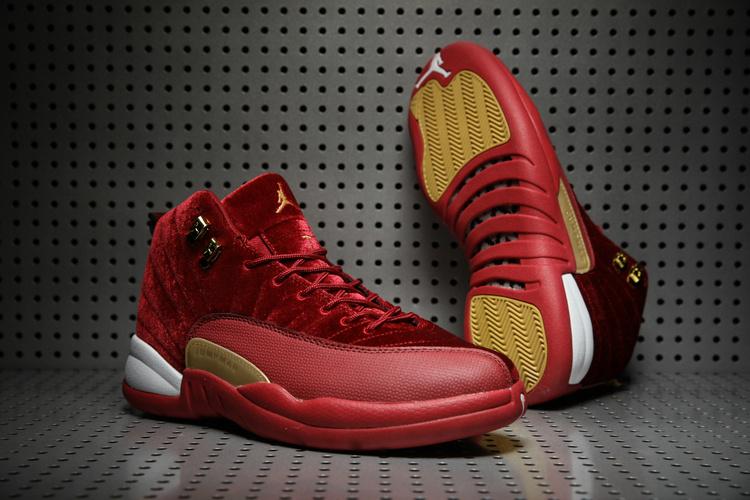 Men Air Jordan 12 Retro Velvet Wine Red Gold Shoes 3ecafd508