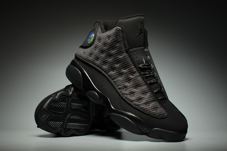 Men Air Jordan 13 Panthers All Black Shoes