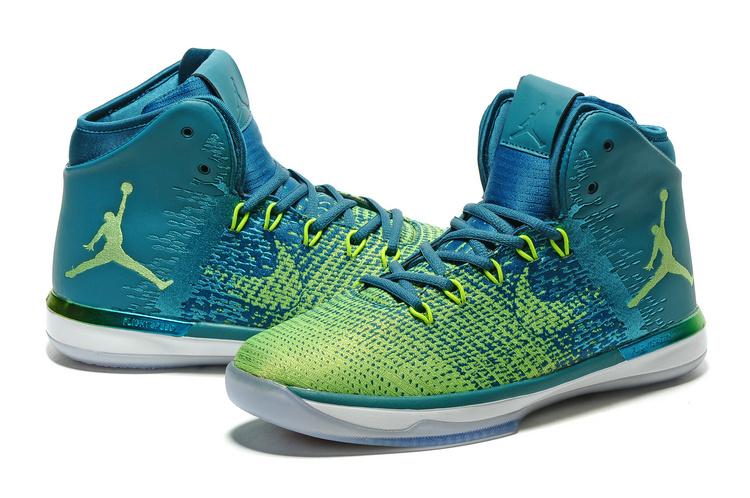 check out 6497b c7aa1 Men Air Jordan 31 Green Blue White Shoes