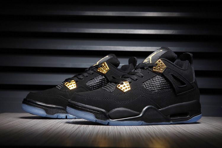 7363f8993c49 Men Air Jordan 4 Black Gold Transparent Sole Shoes  WOMEN1020 ...