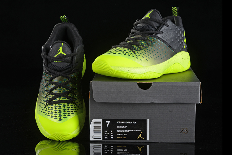 Men Air Jordan Extra Fly Black Fluorscent Green Shoes