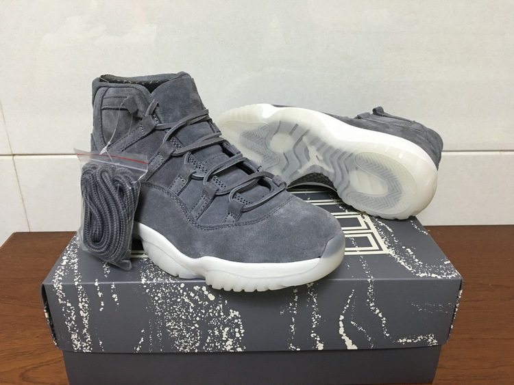 Men Jordan 11 PRM Grey Suede White Shoes