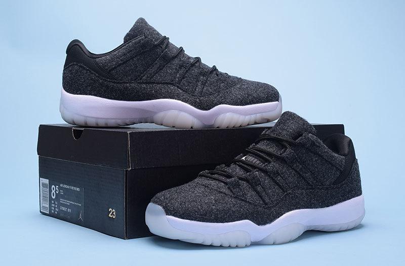 0170490dd223 Men Jordan 11 Low Wool Black White Shoes