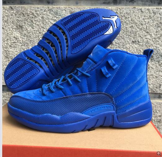 62af21666d0b Men Jordan 12 All Blue Deer Shoes