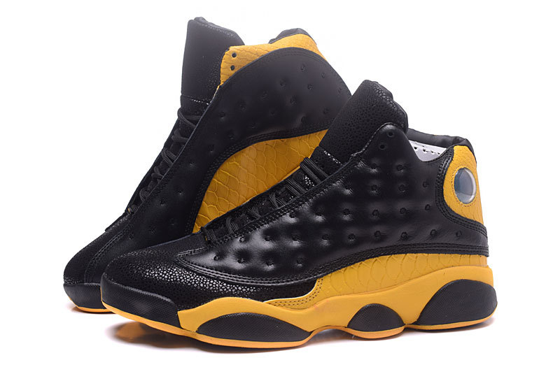 Men Jordan 13 Corcodile Pattern Black Yellow Shoes