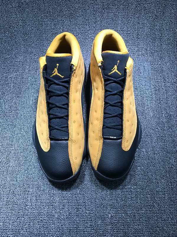 Men Jordan 13 Retro Ginger Yellow Black Shoes