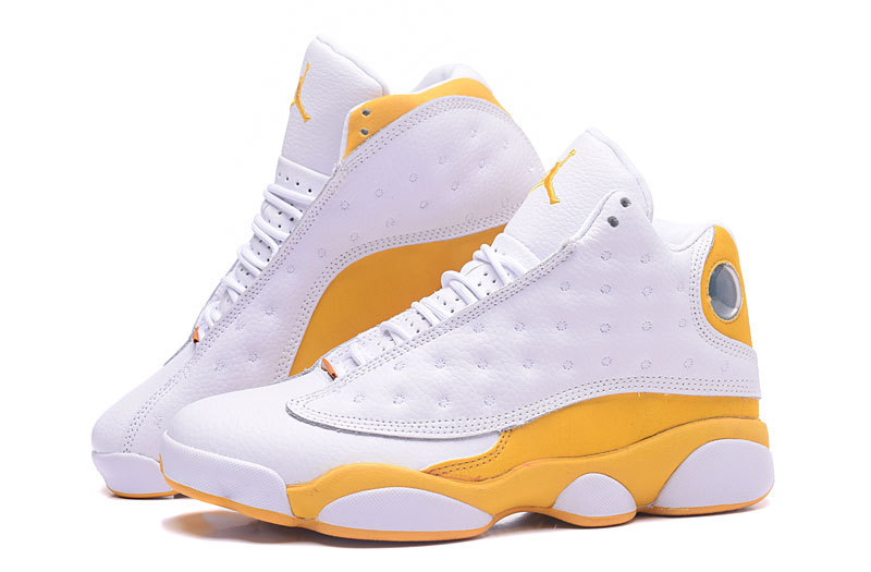 Men Jordan 13 White Yellow Shoes