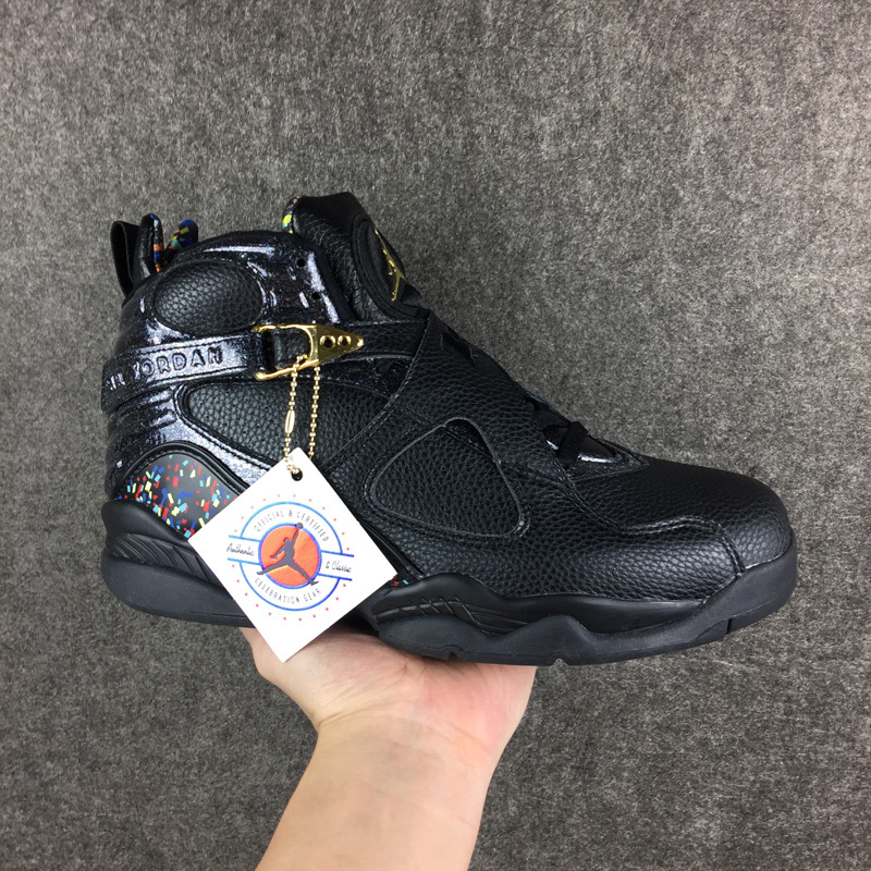Men Jordan 8 Retro Black Gold Shoes