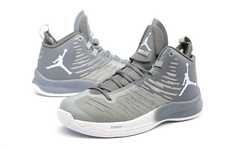 Men Jordan Super Fly 5 Grey White Shoes