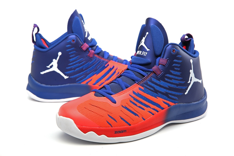 Men Jordan Super Fly 5 Orange Blue Shoes