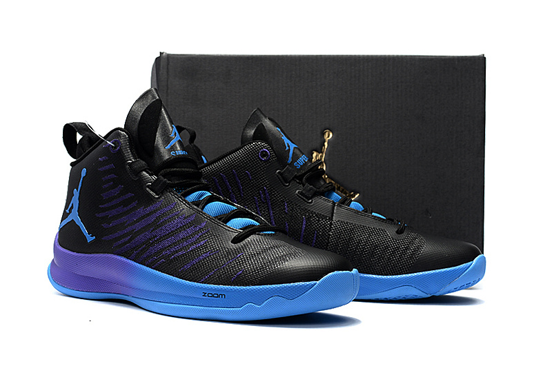 0ebc201f330f68 Men Jordan Super Fly V Black Purple Shoes