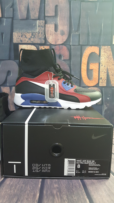 Men Air Max 90 Ultra Superfly HTM Black Red Blue Shoes