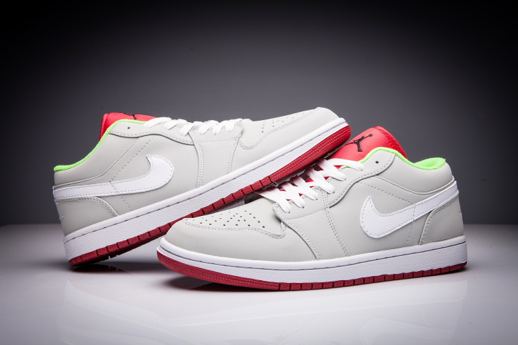 2016 Women Jordan 1 Hare Low Grey Red White Shoes