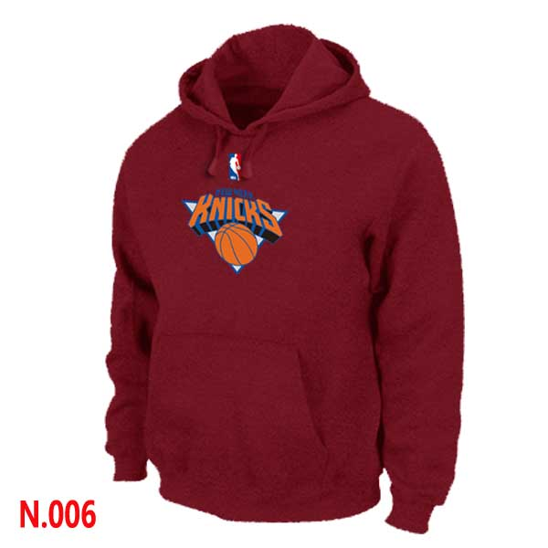 Mens New York Knicks Red Pullover Hoodie