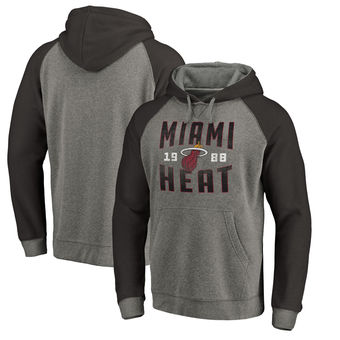 Miami Heat Fanatics Branded Antique Stack Big & Tall Tri-Blend Raglan Pullover Hoodie - Ash