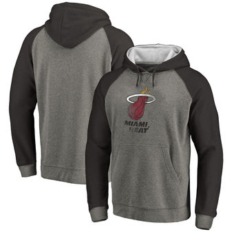 Miami Heat Fanatics Branded Distressed Logo Tri-Blend Big & Tall Pullover Hoodie - Ash Black