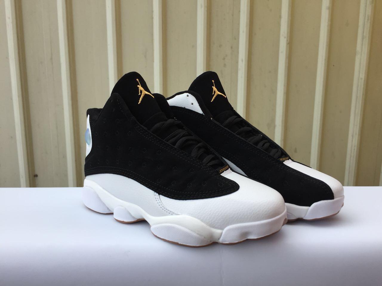 size 40 117bf 95ead 2018 Women Air Jordan 13 Retro Black White Gold Shoes