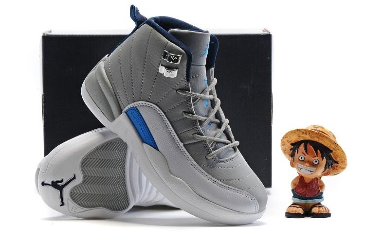 f60ca3d087033a Latest Air Jordan 12 Grey Blue Shoes For Kids