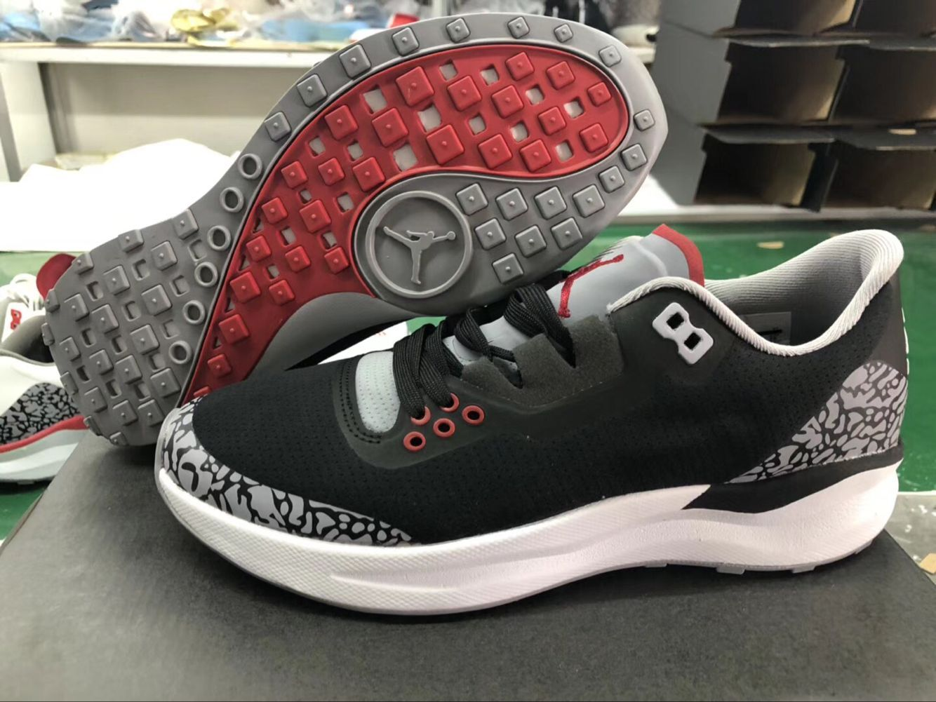 New Jordan 3 Retro Running Shoes Black Cement Grey Red