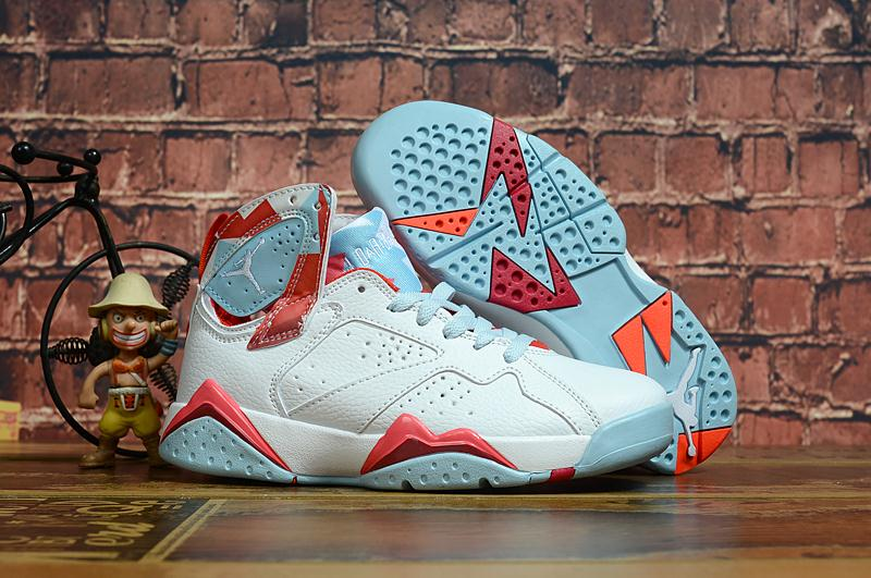 New Women Air Jordan 7 Retro White Baby Blue Red Shoes