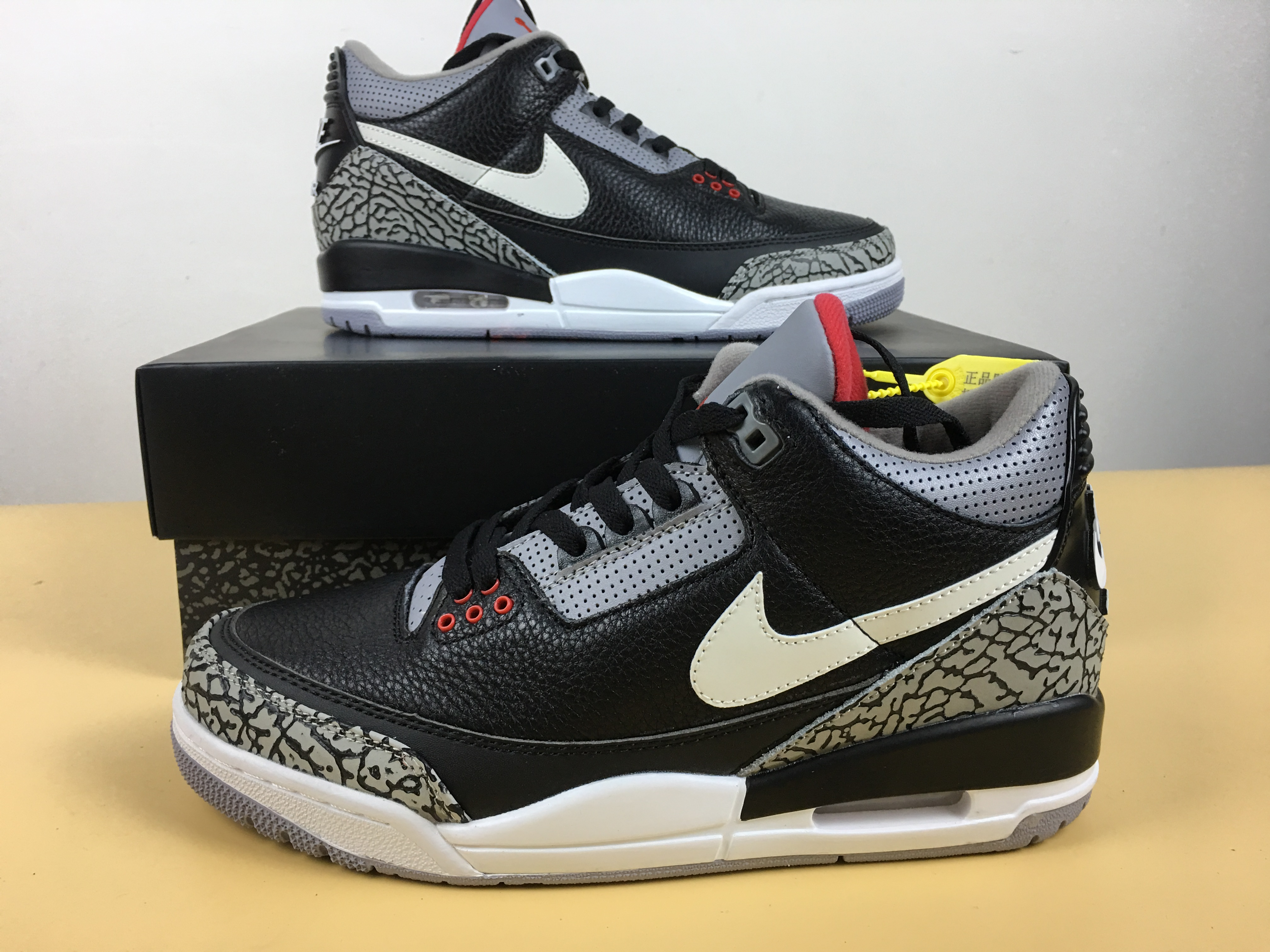 new style 2cc85 564bf New Men Air Jordan 3 JTH Cement Black White Swoosh Shoes ...