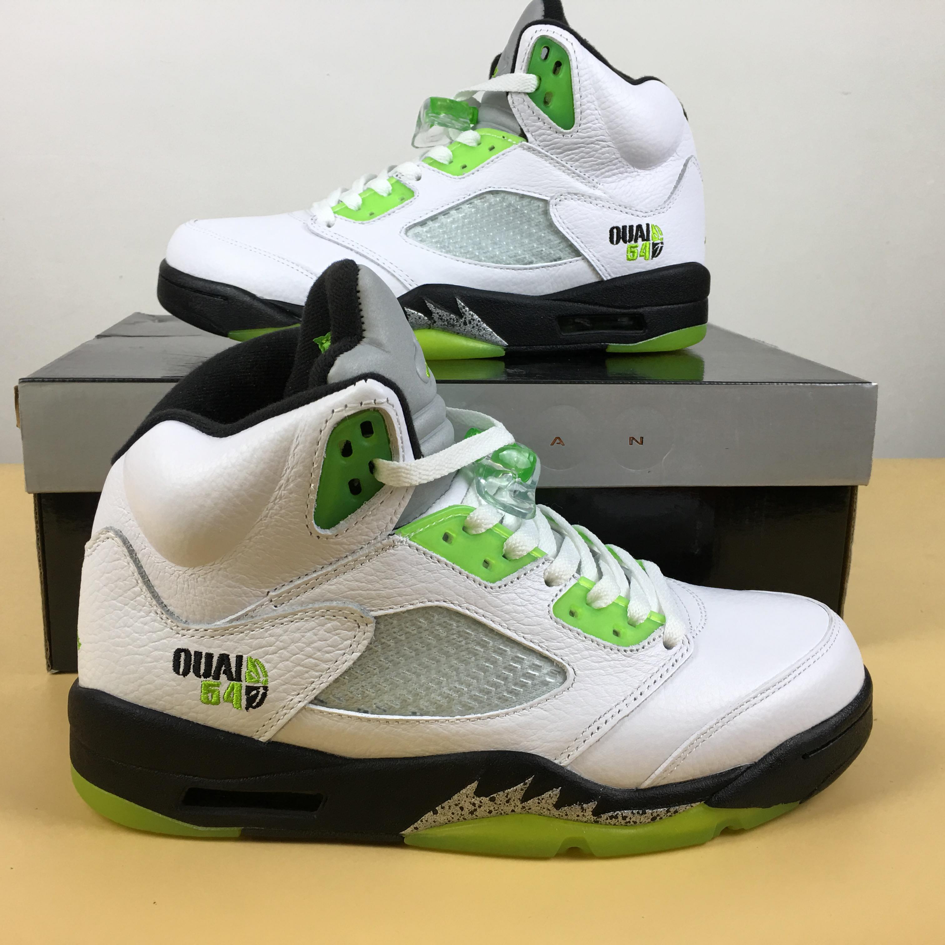 65bee6853f8 New Men Air Jordan 5 Quai54 White Green Shoes