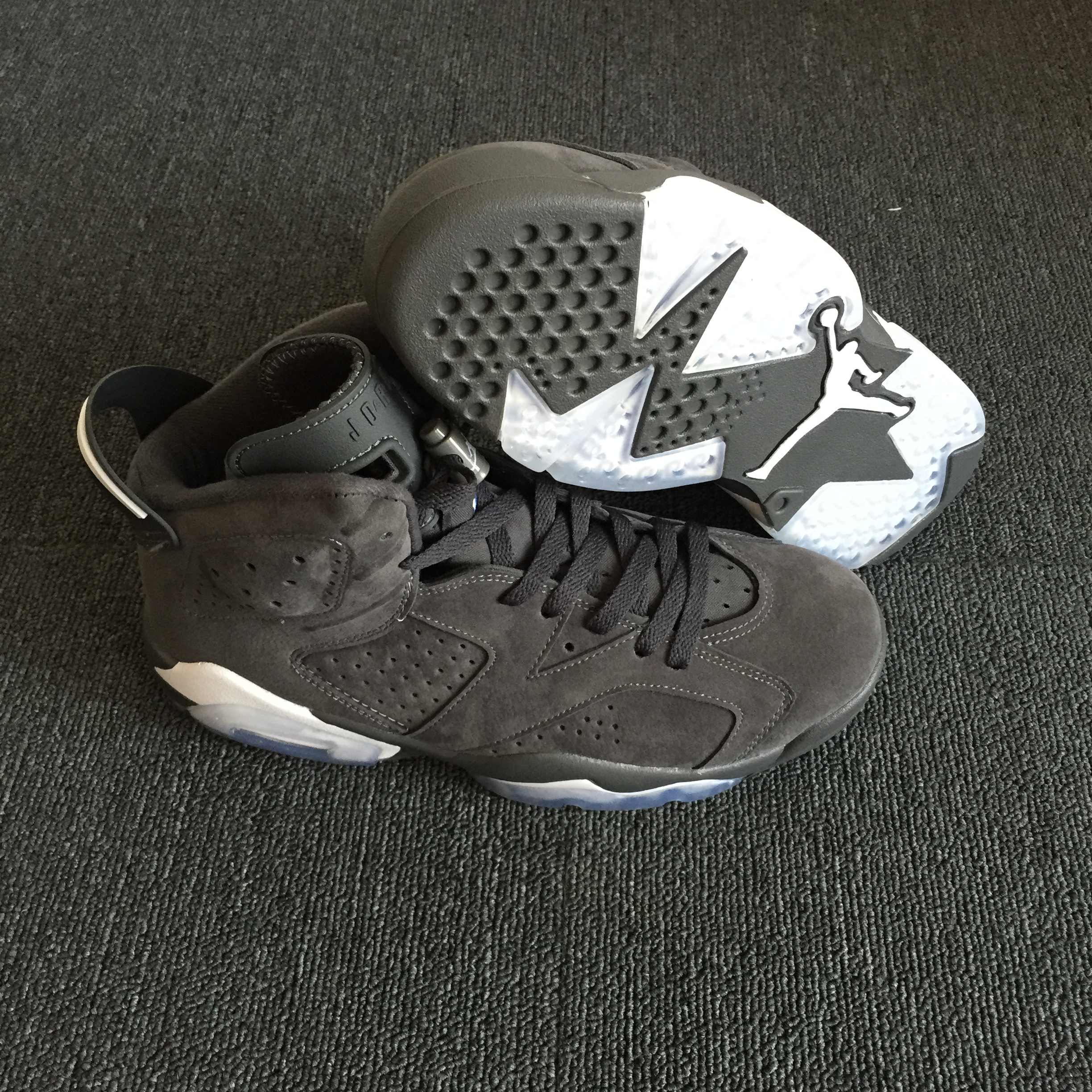 New Men Air Jordan 6 Deek Skin 3M Carbon Grey Shoes