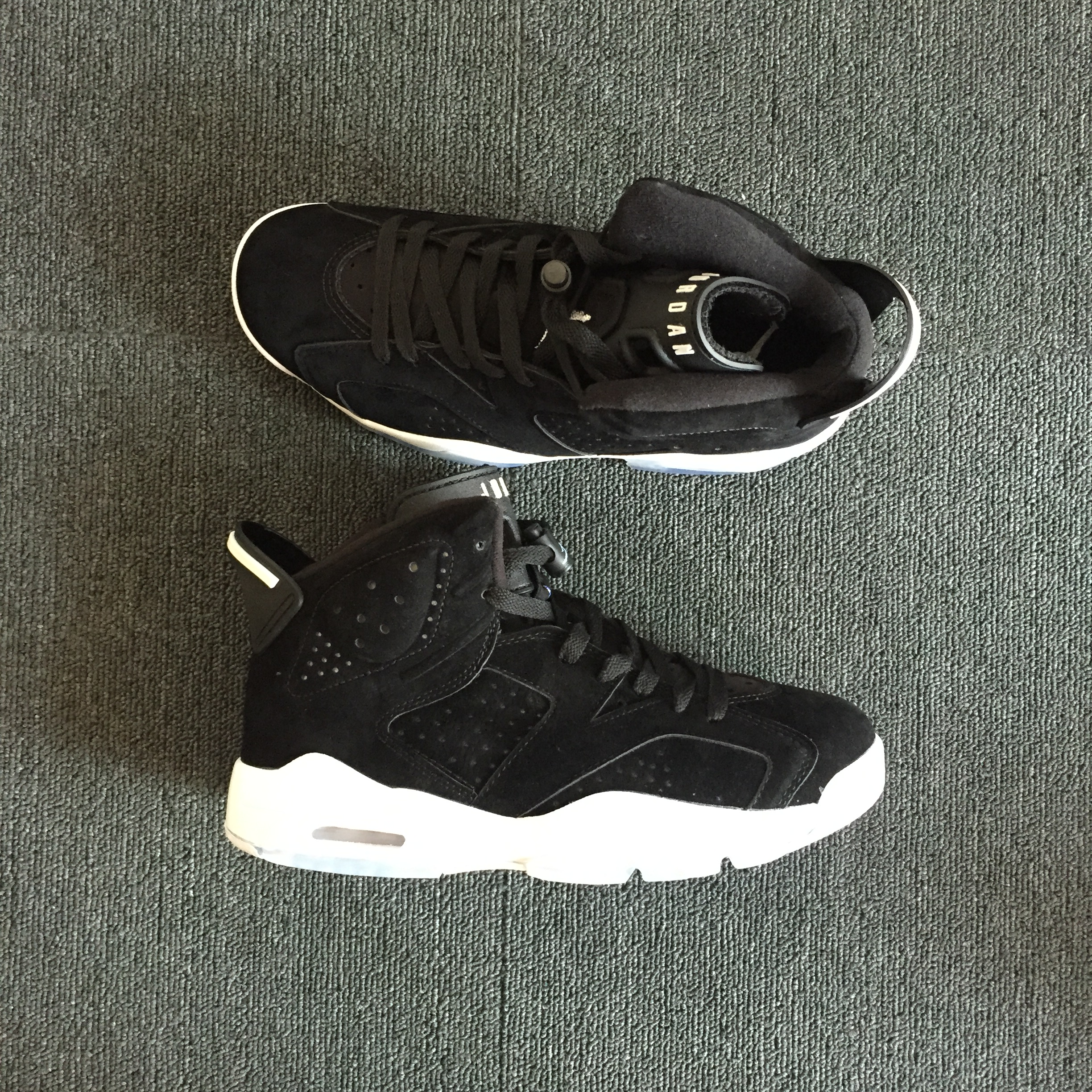 New Men Air Jordan 6 Retro Deer Skin Black White Shoes