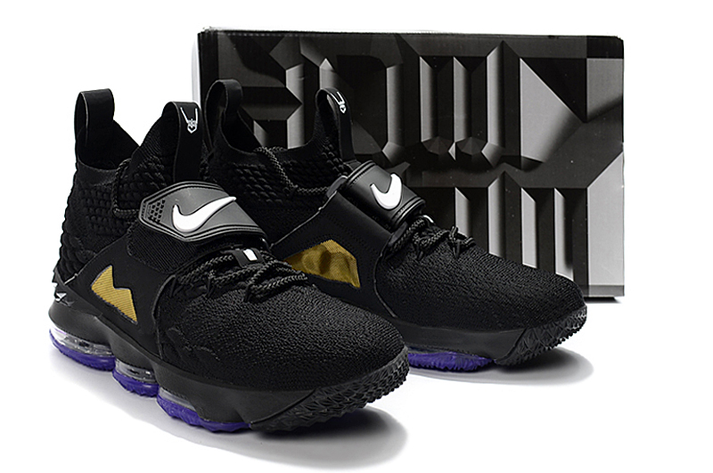New Men Nike Lebron James 15 Black Gold Purple Shoes