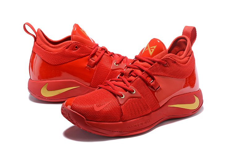 New Men Nike PG 2 All Red Yellow Shoes