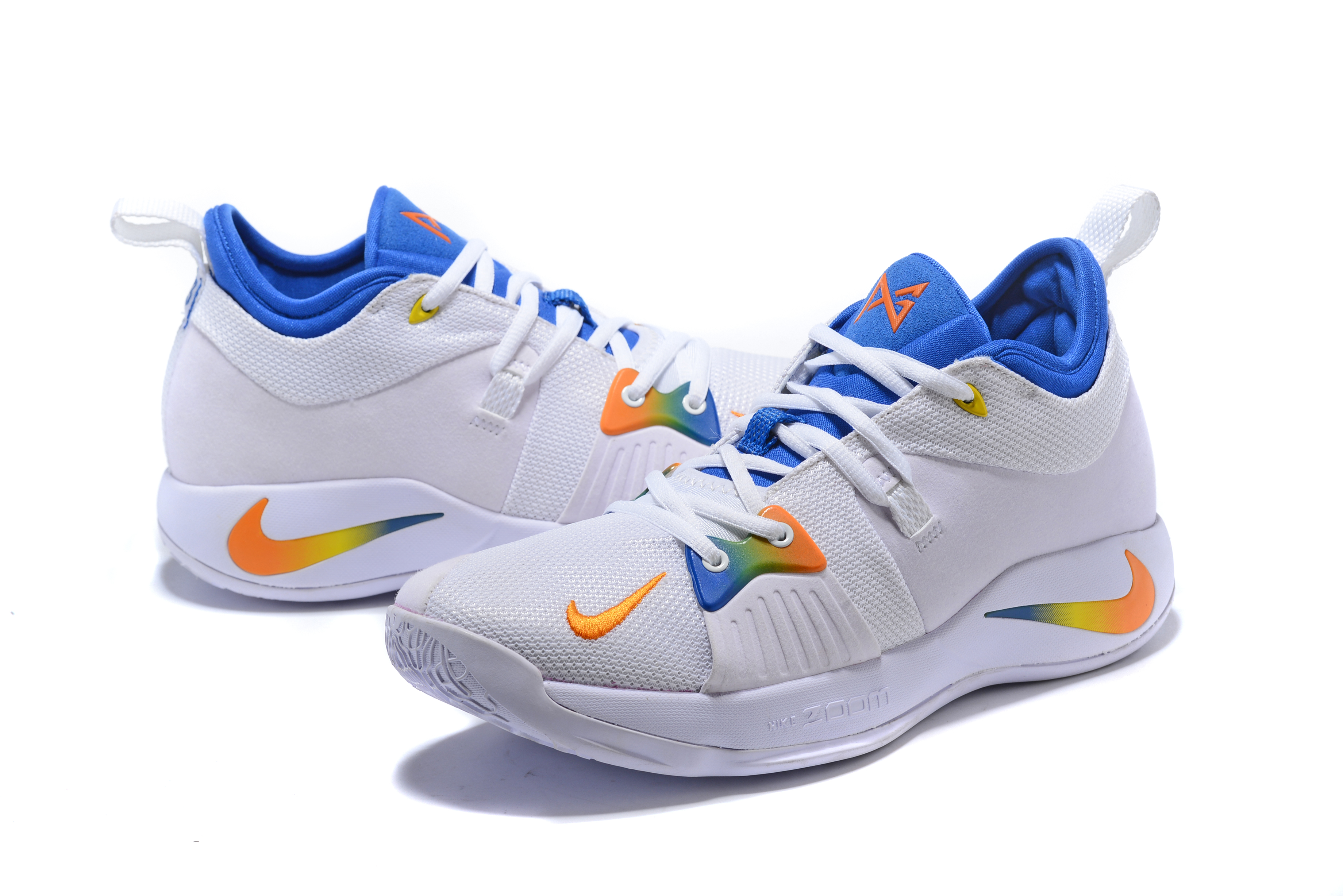 New Men Nike PG 2 White Yellow Blue Shoes