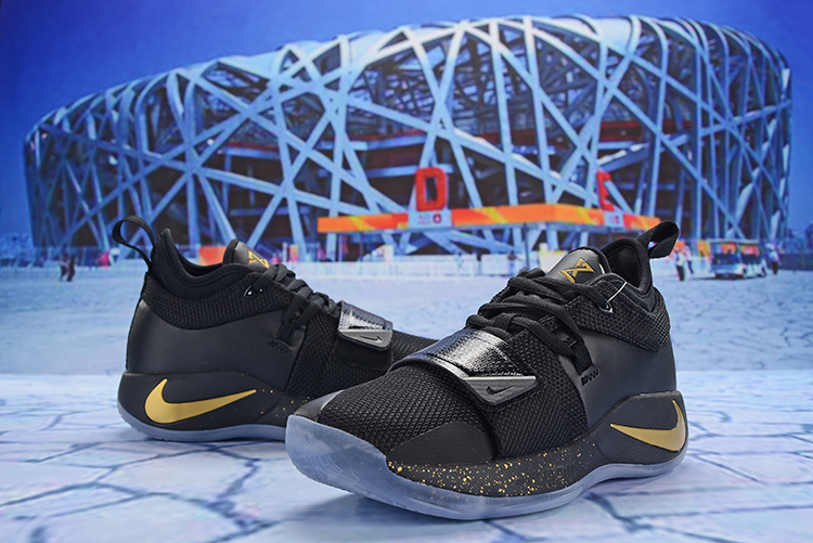 New Men Nike PG 2.5 Black Gold Blue Sole Shoes