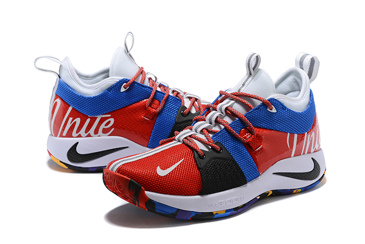 New Men Nike Paul Gerge II Red White Blue Black Shoes