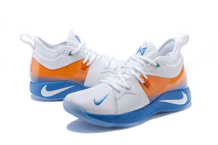 New Men Nike Paul Gerge II White Blue Orange Shoes