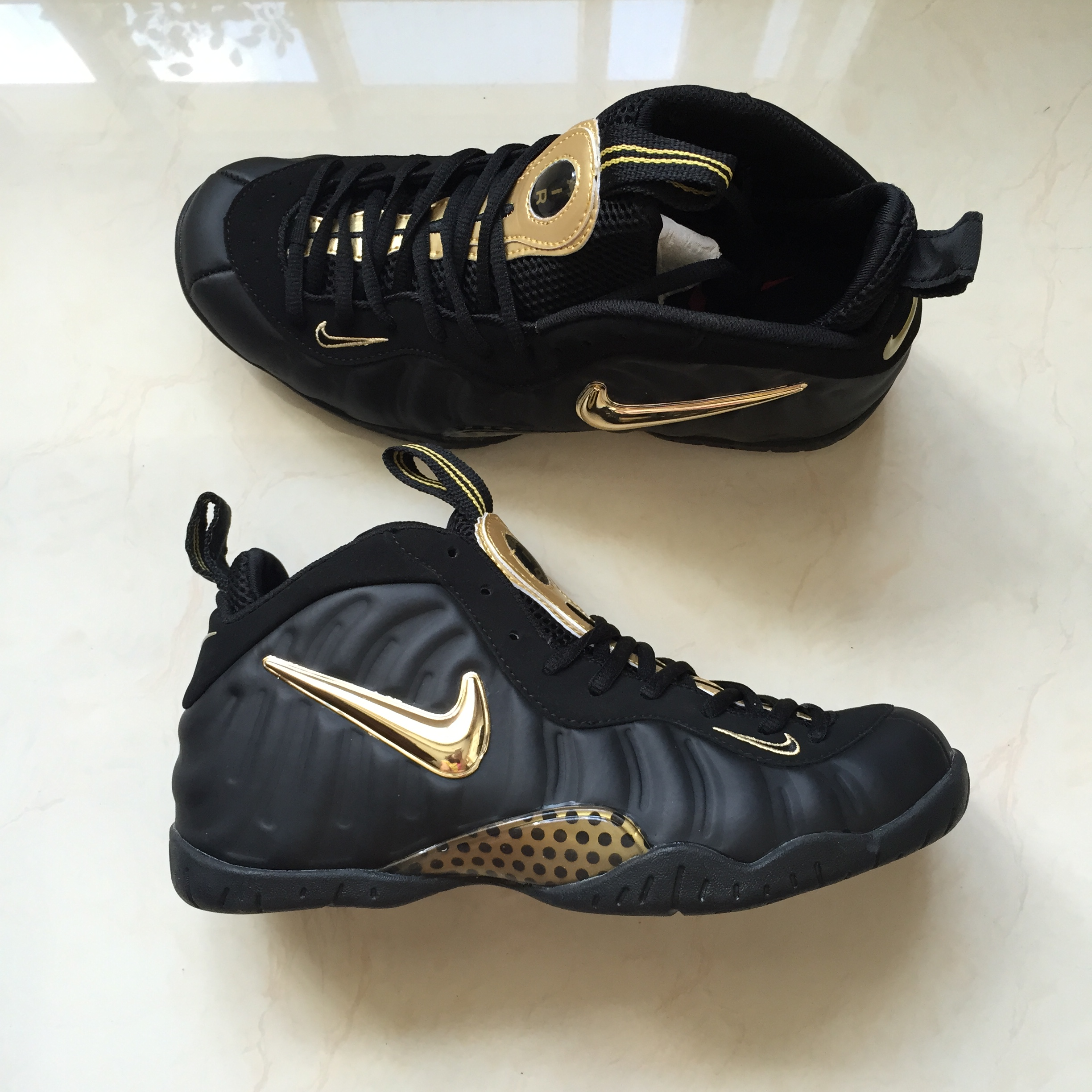 New Nike Air Foamposite Pro Black Gold Shoes