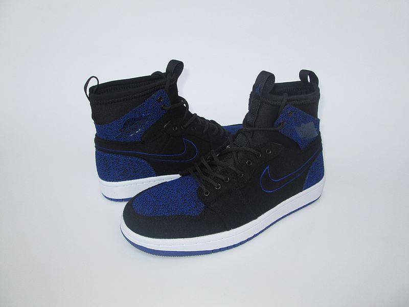 New Air Jordan 1 Black Blue Knitted Socks Shoes
