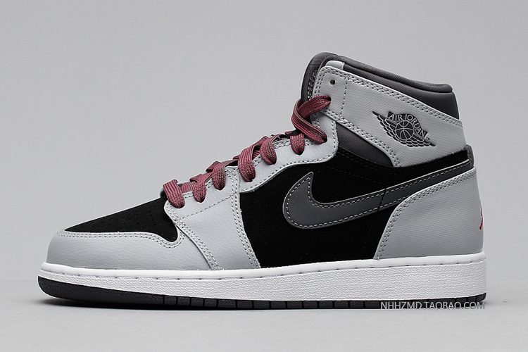 New Air Jordan 1 GS Barbons Grey Black Pink Shoes
