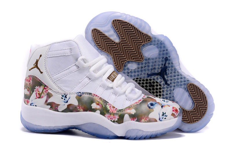 new product 8e641 77173 New Air Jordan 11 Scrawl White Coffe Pink Shoes For Women