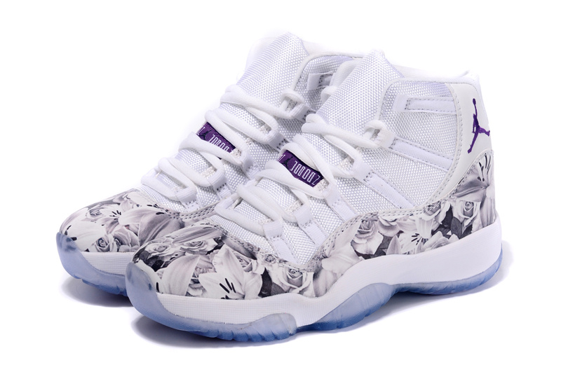new product 59660 7fb74 New Air Jordan 11 Scrawl White Purple Shoes For Women ...