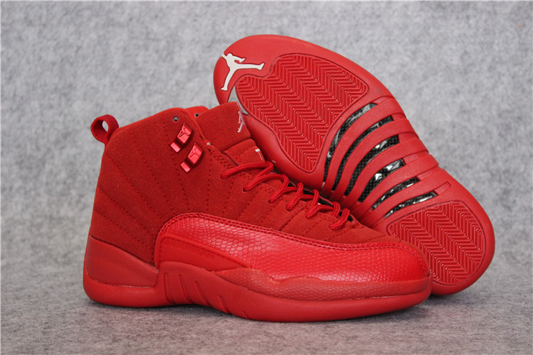 New Air Jordan 12 All Red Shoes For Women
