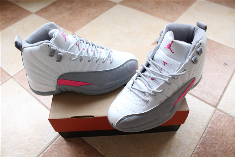 New Air Jordan 12 GS White Grey Pink Shoes