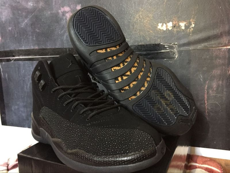 New Air Jordan 12 OVO Black Yellow Shoes