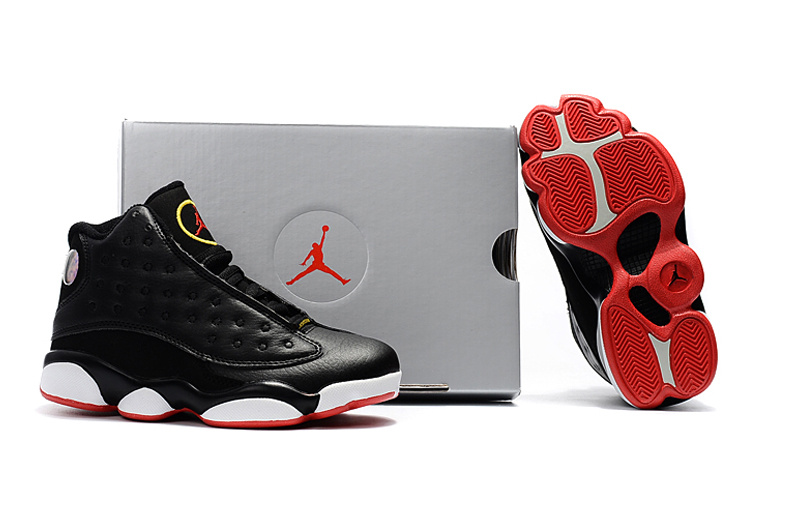 New Air Jordan 13 Black White Red Shoes For Kids