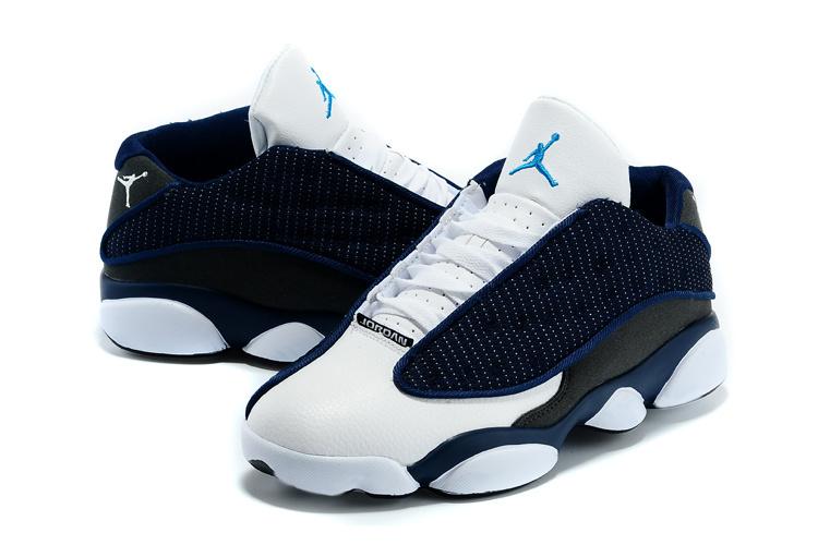 72fdfb5cdc48 New Air Jordan 13 Low Top White Blue Grey Shoes  WOMEN1323  -  90.00 ...