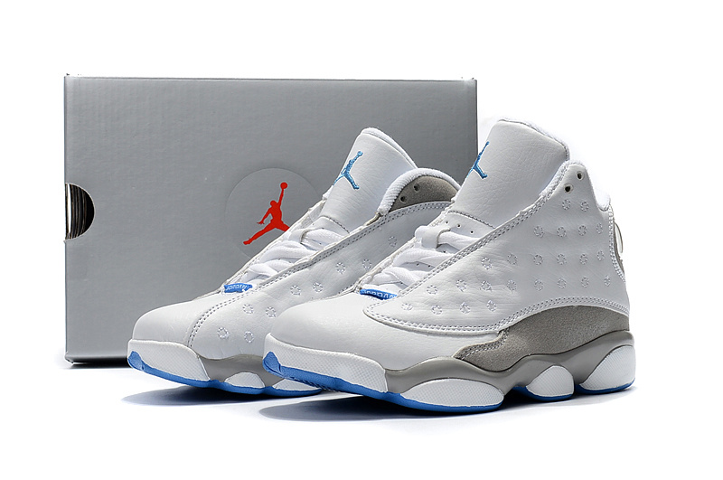 New Air Jordan 13 White Grey Blue Shoes For Kids