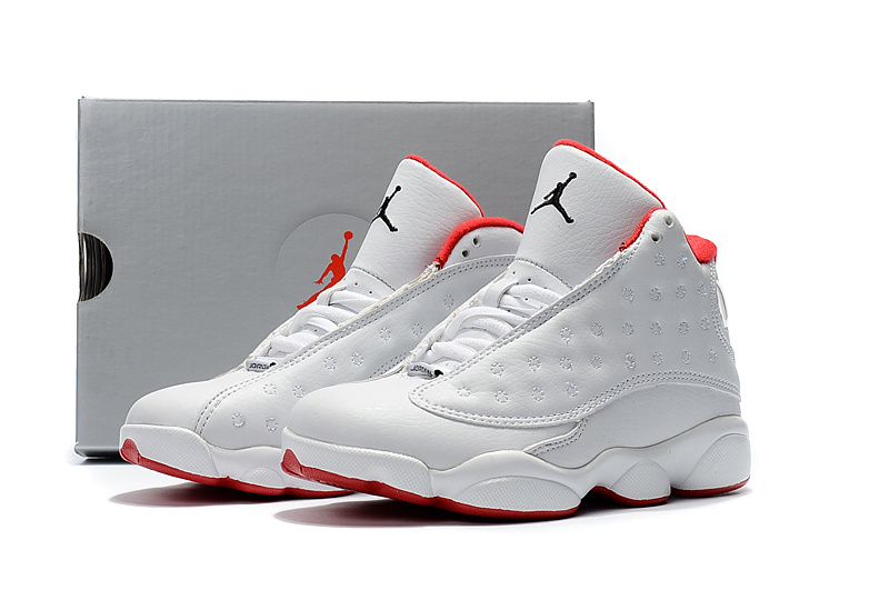 New Air Jordan 13 White Red Shoes For Kids
